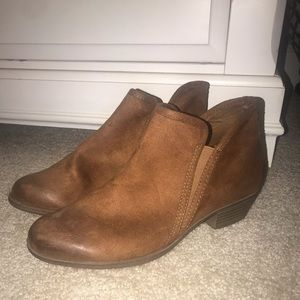 Faux Suede Brown Ankle Boots